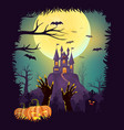 happy halloween poster zombie hand rising vector image