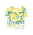 healthy lemonade original design logo natural vector image vector image