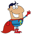 Hispanic Cartoon Super Hero Waving Man vector image vector image