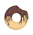 image of a donut on a colored background flat vector image