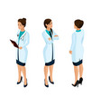 isometrics of a woman medical workers vector image vector image