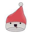 kawaii christmas hat santa claus with tongue out vector image