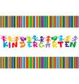 kindergarten poster with colored cartoon children vector image vector image