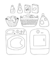 Laundry elements set washer and dryer detergents vector image