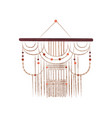macrame wall hanging on wood stick with beads vector image