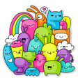 monsters doodle vector image vector image