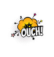 ouch sound blast explosion cartoon comic book vector image vector image