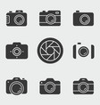 photo icon set isolated on white vector image vector image