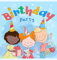 poster cute kids with gifts hand drawing vector image vector image