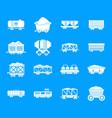 railway carriage icon blue set vector image vector image