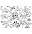set collection bundle engraving dinosaurs vector image