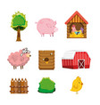 set farm icons vector image
