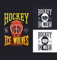 set isolated hockey banners for t-shirt vector image
