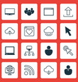 set of 16 internet icons includes display mouse vector image vector image