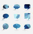 set of blue polygonal geometric speech bubble vector image