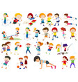 set of exercise kids vector image
