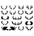 silhouette deer and elk antlers horns vector image