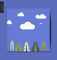 simple things - landscape with trees and clouds vector image vector image