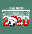 snowy new year numbers 2020 and soccer ball vector image vector image