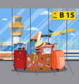 travel suitcases inside of airport with a plane vector image vector image