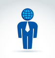 White collar office worker man icon with earth