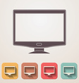 Widescreen monitor flat icons set fadding shadow vector image vector image