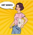 woman in big jeans happy of dieting pop art vector image vector image