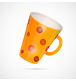 Yellow Cup With Red Dots Isolated on White vector image vector image