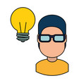young man with bulb vector image