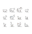 animals farm black thin line icon set vector image