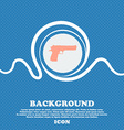 gun sign icon Blue and white abstract background vector image