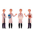 set of male man doctors in white medical coats vector image