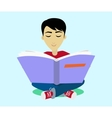 Young Black Haired Man Enjoying Reading Big Book vector image