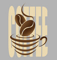abstract coffee logo with a coffee cup and bean vector image vector image