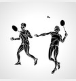 abstract mens doubles badminton players ector vector image vector image