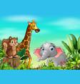 animal cartoons in beautiful gardens vector image vector image