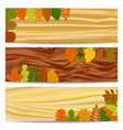 autumn banners with yellow leaves on wooden table vector image vector image