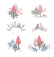 autumn bouquet doodle forest compositions vector image