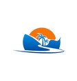 beach road palm tree logo vector image