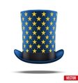 Blue big wizard hat cylinder with gold stars vector image vector image
