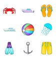 boat voyage icons set cartoon style vector image