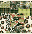 camouflage tartan paisley floral fabric collage vector image vector image