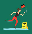 cartoon caution wet floor with character woman vector image vector image