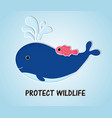 cartoon style blue whale with fish in ocean vector image vector image