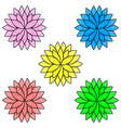 Colorful flowers isolated on white background set vector image