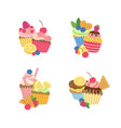cute cartoon muffins or cupcakes set vector image vector image