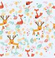 cute reindeer and fox in sping garden vector image vector image