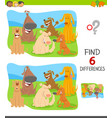 find differences game with cartoon dogs vector image vector image