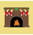 Fire place with christmas decoration vector image vector image