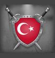 flag of turkey the shield with national flag two vector image vector image